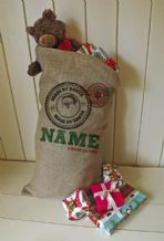 Personalized Made By Santa Large Father Christmas Xmas Santa Sack / Stocking Bag Jute Hessian
